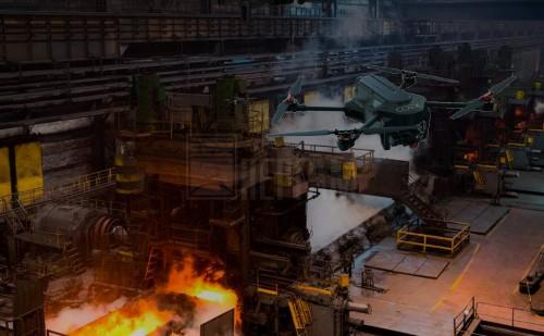 Дрон на металлургическом предприятии