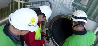 Осмотр регенерационного котла-бойлера с помощью системы телеинспекции на базе противоударного квадрокоптера Elios