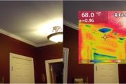 Тепловизор: полости в потолке уводящие тепло