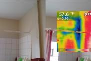 Тепловизор: влага скапливается в углу ванной