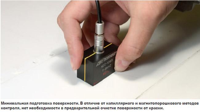Тестирование вихревыми токами может проводиться почти без подготовки поверхности